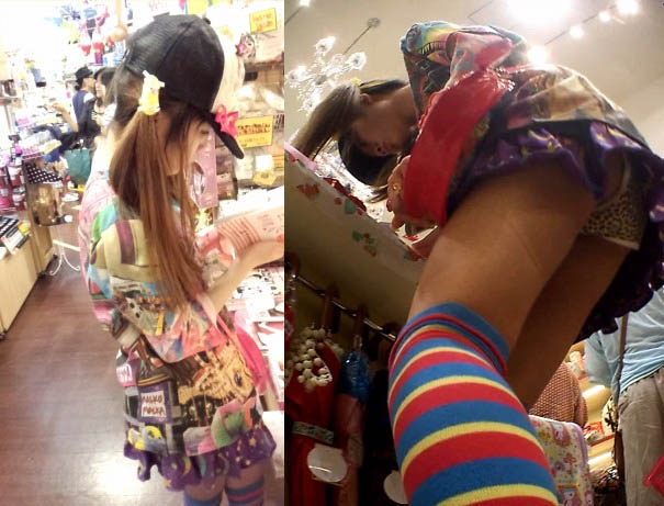 ロリ系ファッションに似合わないヒョウ柄パンツなツインテールニーソちゃん